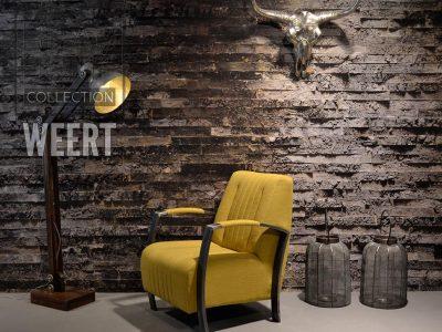 Fauteuil Roermond in geel stof met robuust metalen arm