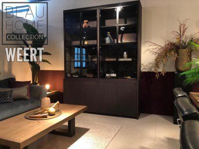 Opbergkast Amsterdam 8 deurs, Vitrine kast met 4 glazen deuren en 4 deurs dressoir 180x45x245 in wenge, donker bruin, zwart hout