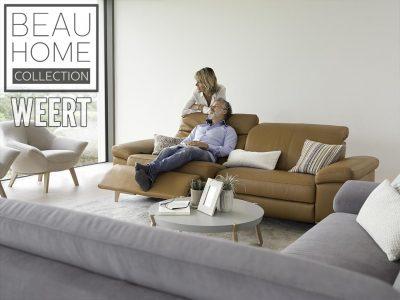 Relaxbank nijmegen Versato van ROM in cognac leer met houten poot en relax optie