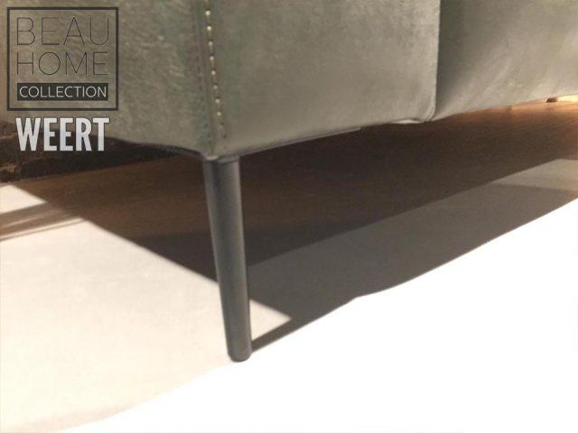 Bankstel Den Helder 3 zits in groen kenia leer op metalen dunne poten met ruitjes stikking in de rug detail metalen poot