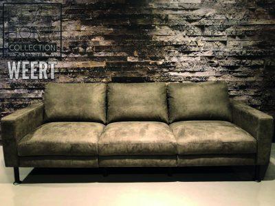 Bankstel Hilversum 3 zits met 3 zitkussens in microleder stof groen, army groen, moss groen op zwarte kunstof poten