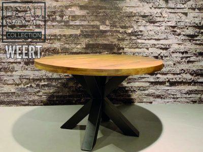 Eetkamertafel Almere 130cm ron mango hout met zwart metalen stervoet, scherpe aanbiedingsprijs