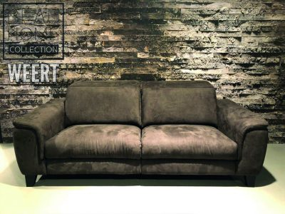Relaxbank Roermond Showmodel donker bruin microleder stof op houten blokpoot met 1 relax element