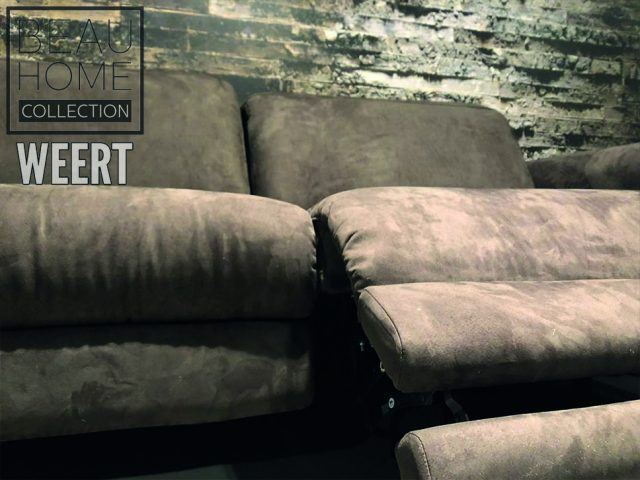 Relaxbank Roermond Showmodel donker bruin microleder stof op houten blokpoot met 1 relax element detail
