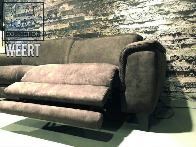 Relaxbank Roermond Showmodel donker bruin microleder stof op houten blokpoot met 1 relax element detail 2