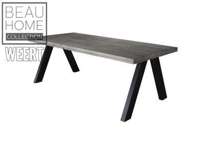 Eetkamertafel Zeist Donker eikenhout eetkamertafel met zwarte metalen omgekeerde V poten
