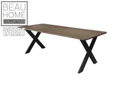 Eetkamertafel Sittard, eetkamertafel, eettafel, x poot, zwart metalen poot, eikenhout