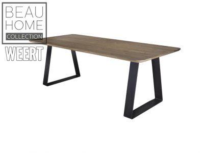 Eetkamertafel Apeldoorn Eikenhout eetkamertafel met afgeronde hoeken en zwart metaal scheve U poot