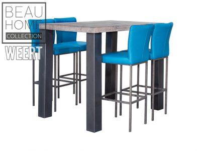 Eetkamertafel Haarlemmermeer Grijs eikenhout bar eettafel met 4 losse zwart metalen poten met 4 blauwe barkrukken