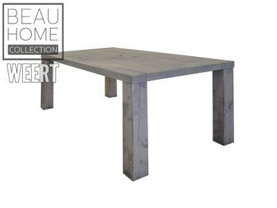 Eetkamertafel Haarlem grijs eikenhouten eetkamertafel met 4 dikke losse houten poten