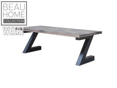 Eetkamertafel Roosendaal Grijs eikenhout eetkamertafel met zwart metaal Z poot