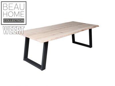 Eetkamertafel Zoetermeer, eetkamertafel, tafel, eettafel, zwarte poot, metalen poot, schuine u-poot, licht eikenhout, eikenhout
