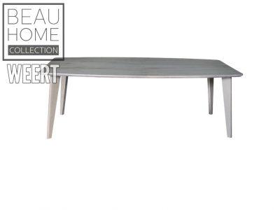 Eetkamertafel Budel. eettafel, eikenhout, houten poot, Licht grijs eikenhout eetkamertafel met 4 losse houten poten
