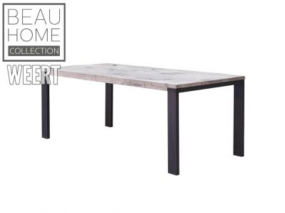 Eetkamertafel Hoogeveen, eetkamertafel, zwart metalen poot, poot, tafel