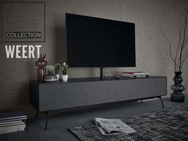 Tv-dressoir Leiden met speciaal speakerdoek en tv-ophangsysteem op zwart metalen poten
