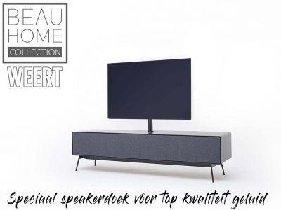 Tv-dressoir Leiden met een strak dun eiken houten rand met speciaal speakerdoek voor top kwaliteit geluid op zwart metalen pootjes met standaard voor de tv