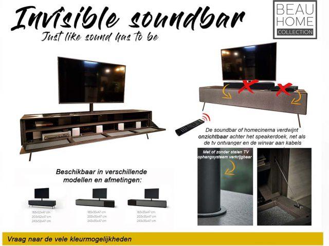 Tv-dressoir Leiden soundbar met special speakerdoek promotie en infortmatie blad