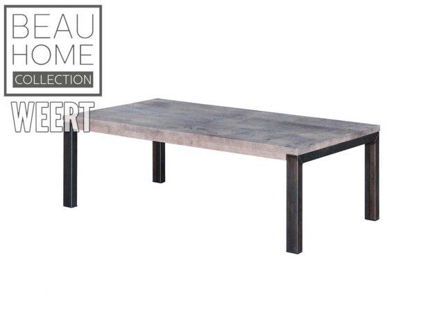 Salontafel Hoogeveen Licht grijs eikenhout salontafel met zwart