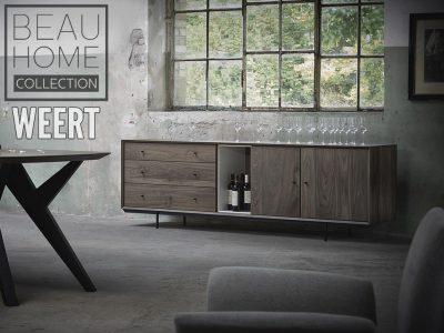Dressoir Hilversum fabrieksfoto in noten hout in een donker bruine kleur op een zwart metalen onderstel met 2 deuren en 3 laden
