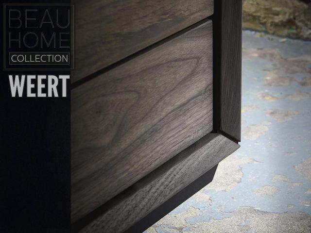 Dressoir Hilversum fabrieksfoto in noten hout in een donker bruine kleur op een zwart metalen onderstel met 2 deuren en 3 laden Detail zijkant