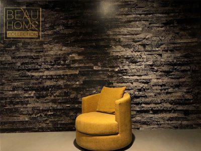 Schuin-aanzicht-gele-ronde-draai-fauteuil
